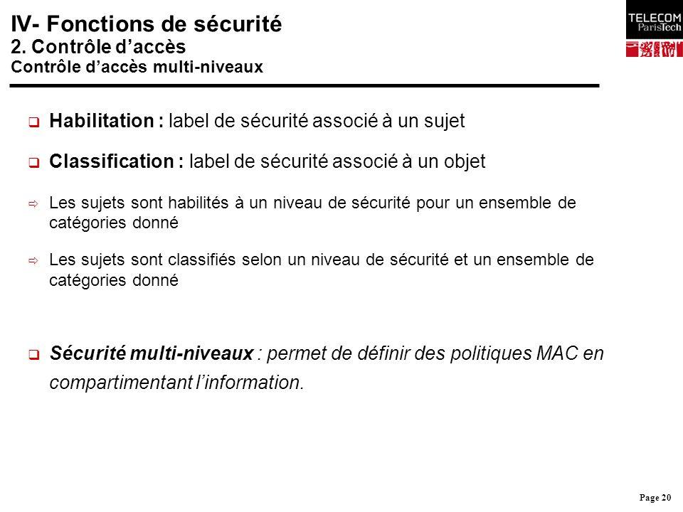 Page 20 IV- Fonctions de sécurité 2. Contrôle d'accès Contrôle d'accès multi-niveaux  Habilitation : label de sécurité associé à un sujet  Classific
