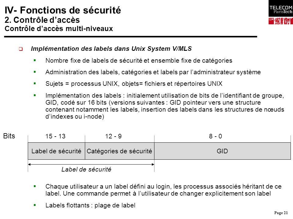 Page 21 IV- Fonctions de sécurité 2. Contrôle d'accès Contrôle d'accès multi-niveaux  Implémentation des labels dans Unix System V/MLS  Nombre fixe