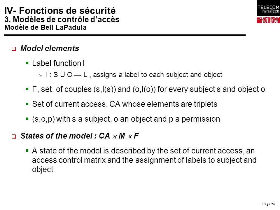 Page 26 IV- Fonctions de sécurité 3. Modèles de contrôle d'accès Modèle de Bell LaPadula  Model elements  Label function l  l : S U O  L, assigns