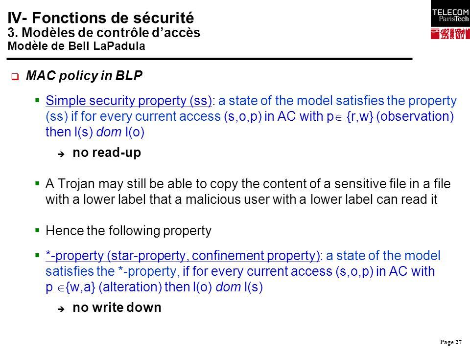 Page 27 IV- Fonctions de sécurité 3. Modèles de contrôle d'accès Modèle de Bell LaPadula  MAC policy in BLP  Simple security property (ss): a state