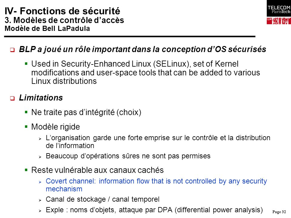 Page 32 IV- Fonctions de sécurité 3. Modèles de contrôle d'accès Modèle de Bell LaPadula  BLP a joué un rôle important dans la conception d'OS sécuri