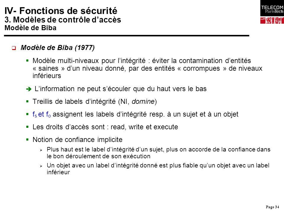 Page 34 IV- Fonctions de sécurité 3. Modèles de contrôle d'accès Modèle de Biba  Modèle de Biba (1977)  Modèle multi-niveaux pour l'intégrité : évit