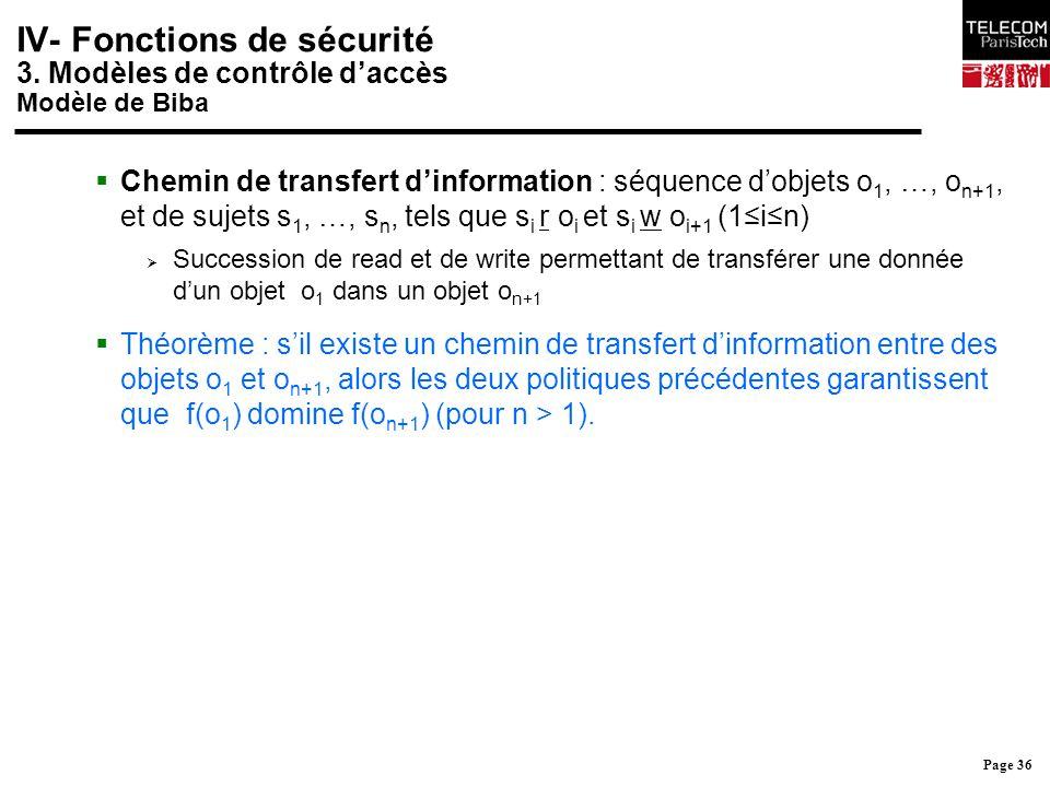 Page 36 IV- Fonctions de sécurité 3. Modèles de contrôle d'accès Modèle de Biba  Chemin de transfert d'information : séquence d'objets o 1, …, o n+1,