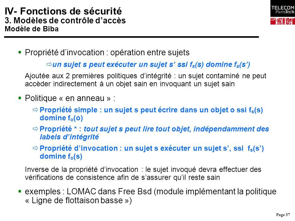 Page 37 IV- Fonctions de sécurité 3. Modèles de contrôle d'accès Modèle de Biba  Propriété d'invocation : opération entre sujets  un sujet s peut ex