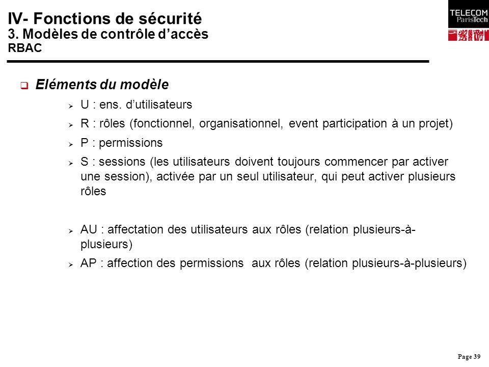 Page 39 IV- Fonctions de sécurité 3. Modèles de contrôle d'accès RBAC  Eléments du modèle  U : ens. d'utilisateurs  R : rôles (fonctionnel, organis