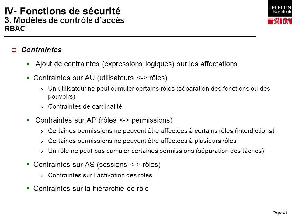 Page 43 IV- Fonctions de sécurité 3. Modèles de contrôle d'accès RBAC  Contraintes  Ajout de contraintes (expressions logiques) sur les affectations