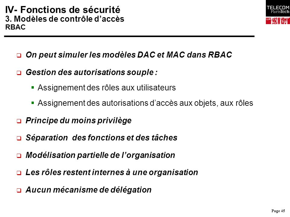 Page 45 IV- Fonctions de sécurité 3. Modèles de contrôle d'accès RBAC  On peut simuler les modèles DAC et MAC dans RBAC  Gestion des autorisations s