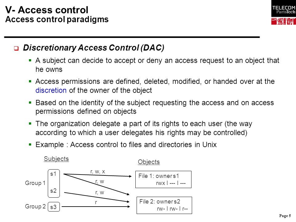 Page 6 V- Access control Access control paradigms  DAC: context of application  Do not satisfy the least privilege principle: a user may give more permissions than necessary  A permission on an object may be handed over without its owner knowing:  A gives a read right on one of its files to B, B copies this file, B being the owner of this copy can hand over his read right to C èA must trust B  Trust is not always enough:  A owns a sensitive file f, B has no permission to read it  B implements a Trojan, and succeeds in persuading A to execute it  When A execute the Trojan, it runs with A's permissions, and is able to copy f  Not suited to environment dealing with very sensitive information