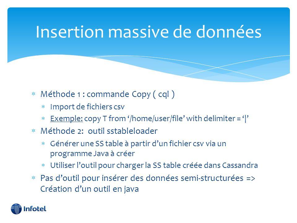  Méthode 1 : commande Copy ( cql )  Import de fichiers csv  Exemple: copy T from '/home/user/file' with delimiter = '|'  Méthode 2: outil sstablel