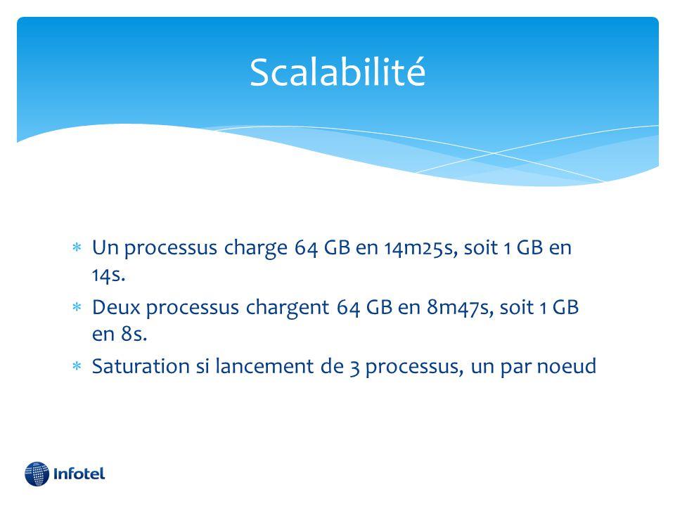 Scalabilité  Un processus charge 64 GB en 14m25s, soit 1 GB en 14s.  Deux processus chargent 64 GB en 8m47s, soit 1 GB en 8s.  Saturation si lancem