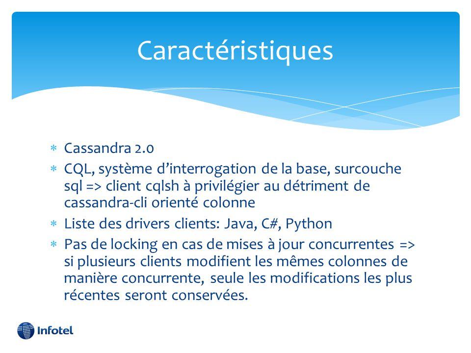 Caractéristiques  Cassandra 2.0  CQL, système d'interrogation de la base, surcouche sql => client cqlsh à privilégier au détriment de cassandra-cli
