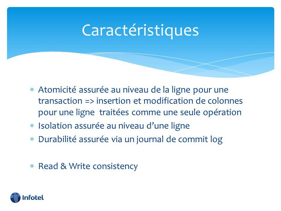 Caractéristiques  Atomicité assurée au niveau de la ligne pour une transaction => insertion et modification de colonnes pour une ligne traitées comme