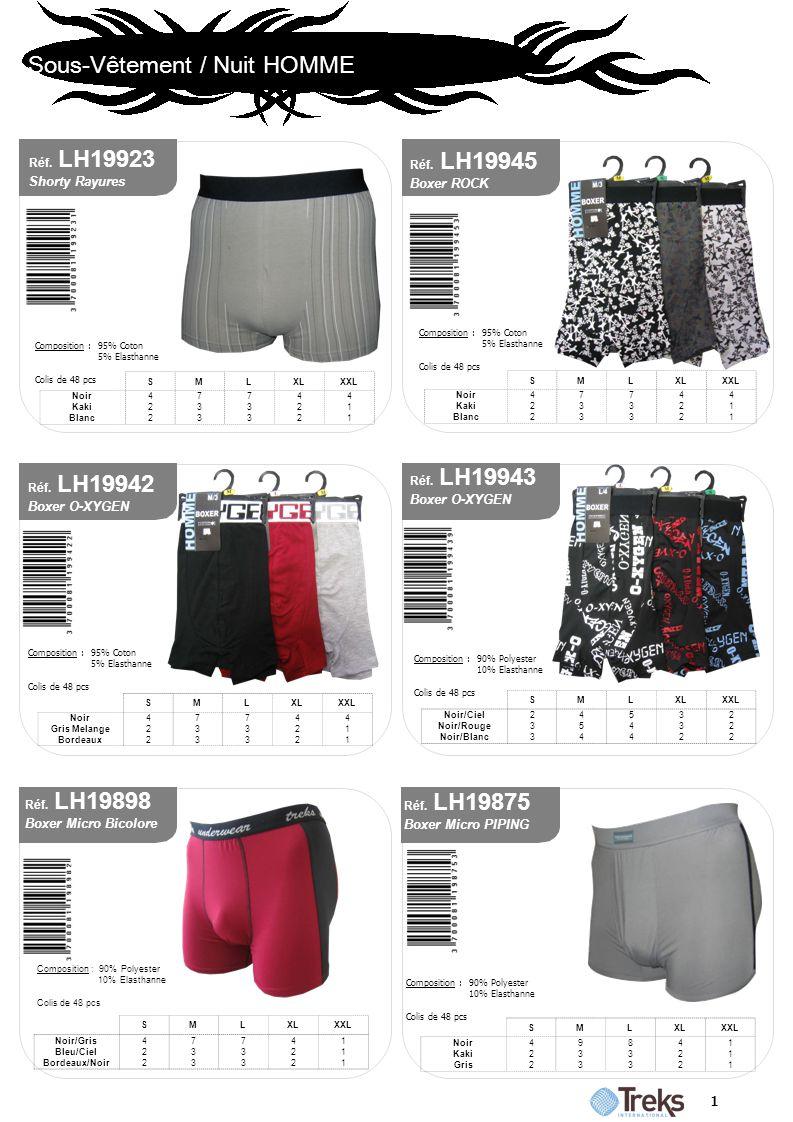 Sous-Vêtement / Nuit HOMME 1 Réf. LH19943 Boxer O-XYGEN Composition : 90% Polyester 10% Elasthanne Colis de 48 pcs SMLXLXXL Noir/Ciel Noir/Rouge Noir/