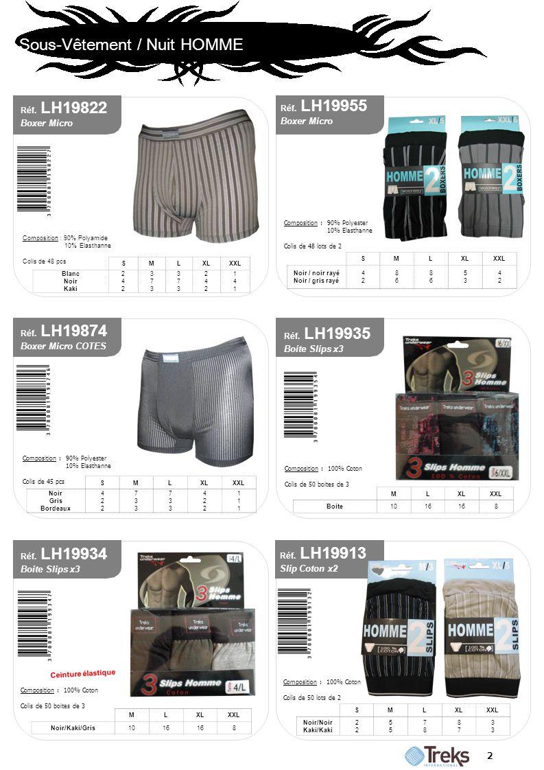 Sous-Vêtement / Nuit HOMME 2 Réf. LH19955 Boxer Micro SMLXLXXL Noir / noir rayé Noir / gris rayé 4242 8686 8686 5353 4242 Composition : 90% Polyester