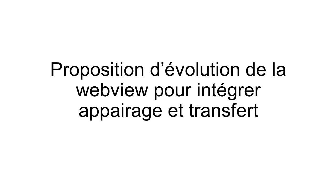 Proposition d'évolution de la webview pour intégrer appairage et transfert