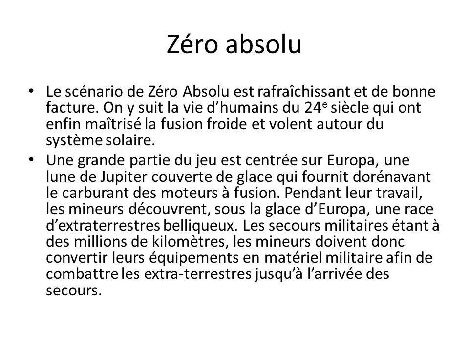 Zéro absolu Le scénario de Zéro Absolu est rafraîchissant et de bonne facture. On y suit la vie d'humains du 24 e siècle qui ont enfin maîtrisé la fus
