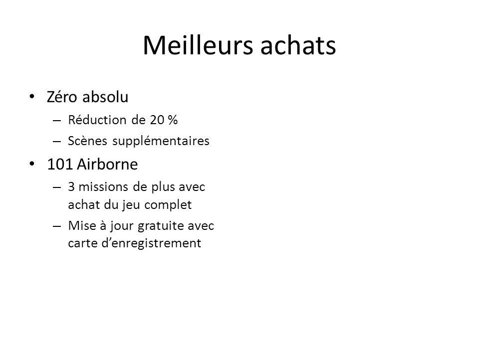 Meilleurs achats Zéro absolu – Réduction de 20 % – Scènes supplémentaires 101 Airborne – 3 missions de plus avec achat du jeu complet – Mise à jour gratuite avec carte d'enregistrement