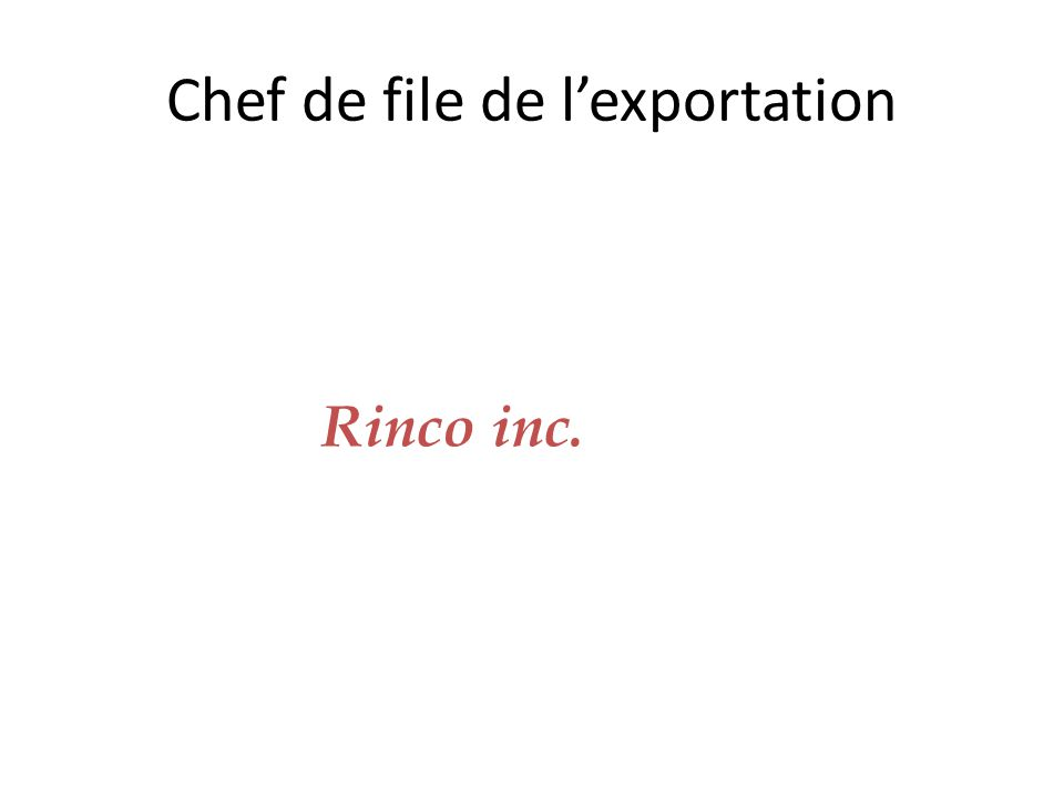 Chef de file de l'exportation Rinco inc.
