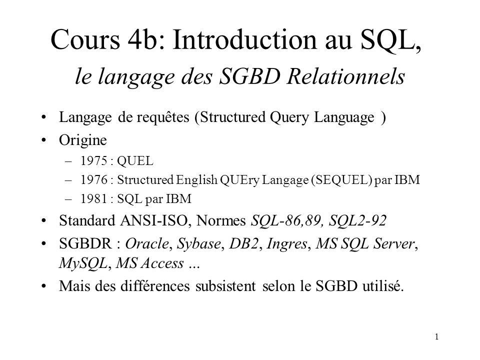 1 Langage de requêtes (Structured Query Language ) Origine –1975 : QUEL –1976 : Structured English QUEry Langage (SEQUEL) par IBM –1981 : SQL par IBM Standard ANSI-ISO, Normes SQL-86,89, SQL2-92 SGBDR : Oracle, Sybase, DB2, Ingres, MS SQL Server, MySQL, MS Access...
