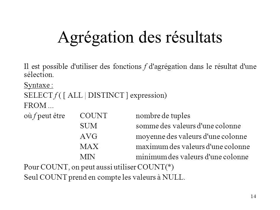 14 Agrégation des résultats Il est possible d'utiliser des fonctions f d'agrégation dans le résultat d'une sélection. Syntaxe : SELECT f ( [ ALL | DIS