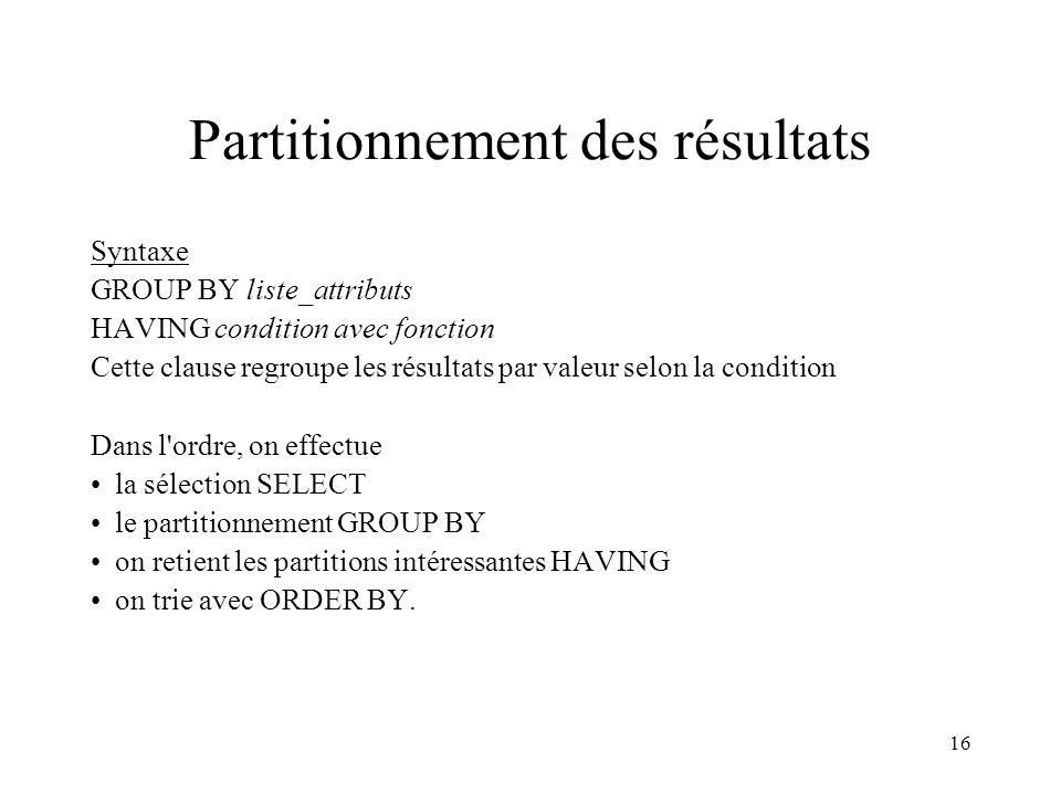16 Partitionnement des résultats Syntaxe GROUP BY liste_attributs HAVING condition avec fonction Cette clause regroupe les résultats par valeur selon