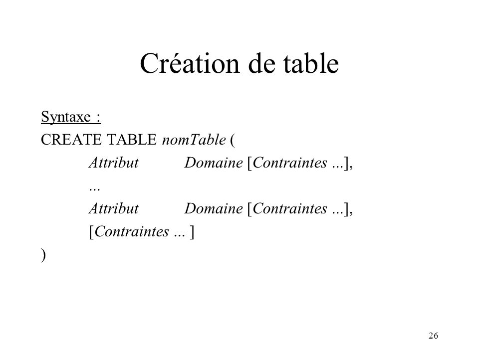 26 Création de table Syntaxe : CREATE TABLE nomTable ( Attribut Domaine [Contraintes...],... Attribut Domaine [Contraintes...], [Contraintes... ] )