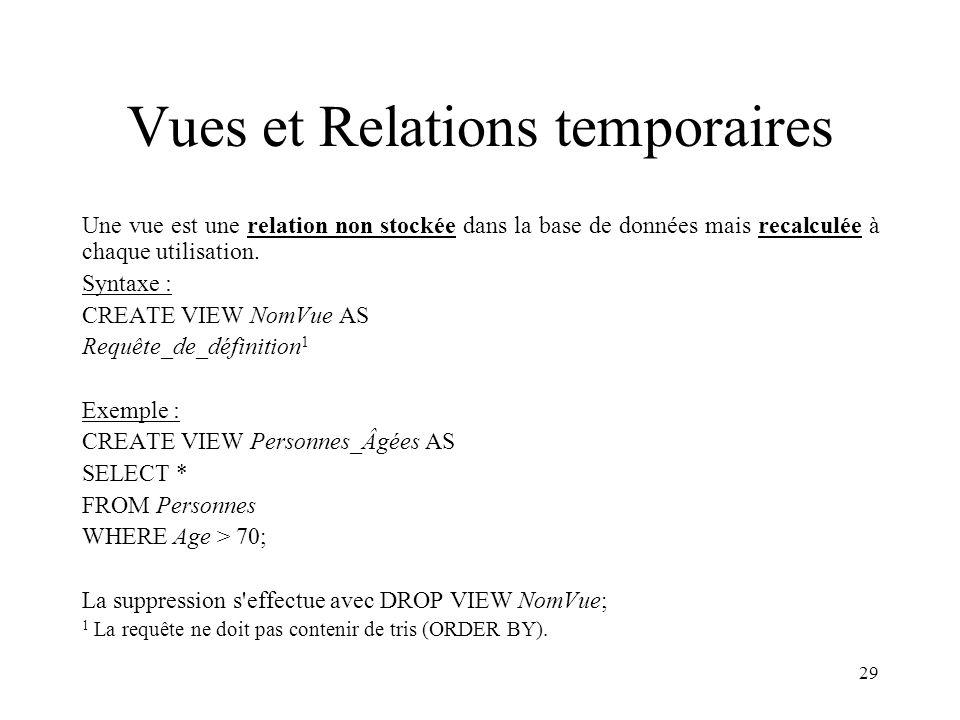 29 Vues et Relations temporaires Une vue est une relation non stockée dans la base de données mais recalculée à chaque utilisation. Syntaxe : CREATE V
