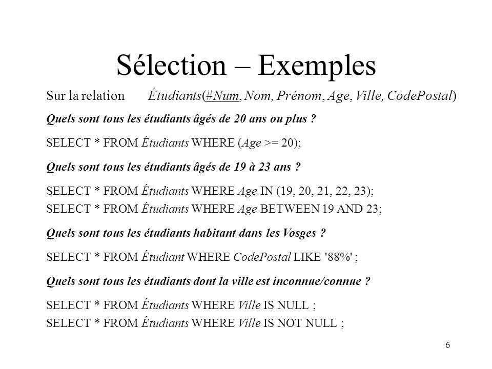 27 Création de table - Exemple Créer la table Stock1(Pièce, NbP, Fournisseur) CREATE TABLE Stock1 ( Pièce VARCHAR(20) NOT NULL, NbP INT, Fournisseur CHAR(20) NOT NULL, PRIMARY KEY (Pièce, Fournisseur) )