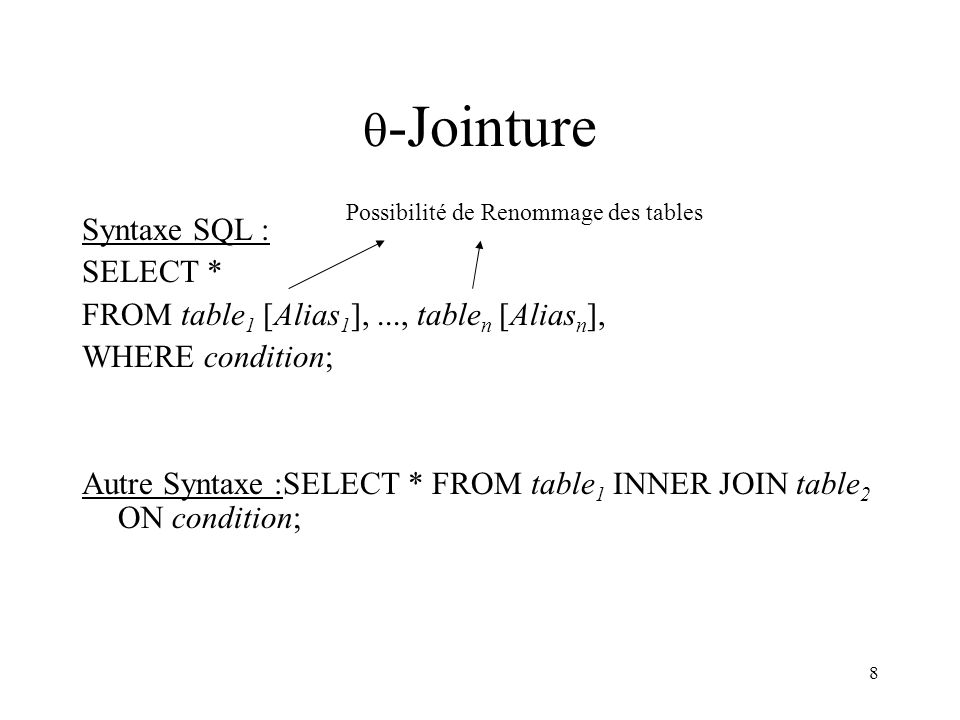 8  -Jointure Syntaxe SQL : SELECT * FROM table 1 [Alias 1 ],..., table n [Alias n ], WHERE condition; Autre Syntaxe :SELECT * FROM table 1 INNER JOIN