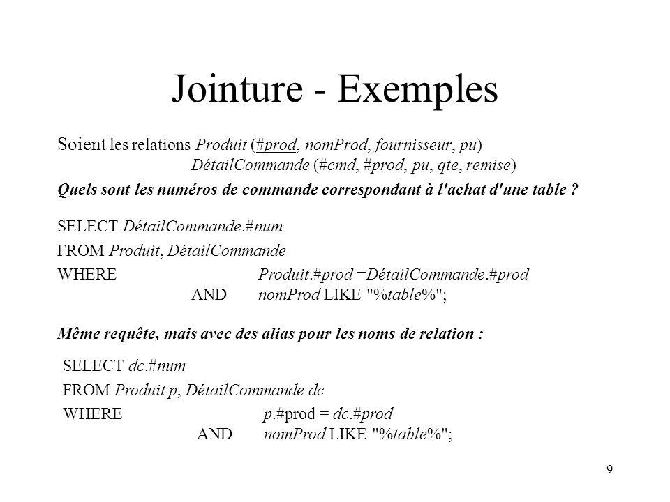 9 Jointure - Exemples Soient les relations Produit (#prod, nomProd, fournisseur, pu) DétailCommande (#cmd, #prod, pu, qte, remise) Quels sont les numéros de commande correspondant à l achat d une table .