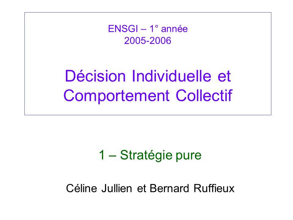 ENSGI – 1° année 2005-2006 Décision Individuelle et Comportement Collectif 1 – Stratégie pure Céline Jullien et Bernard Ruffieux