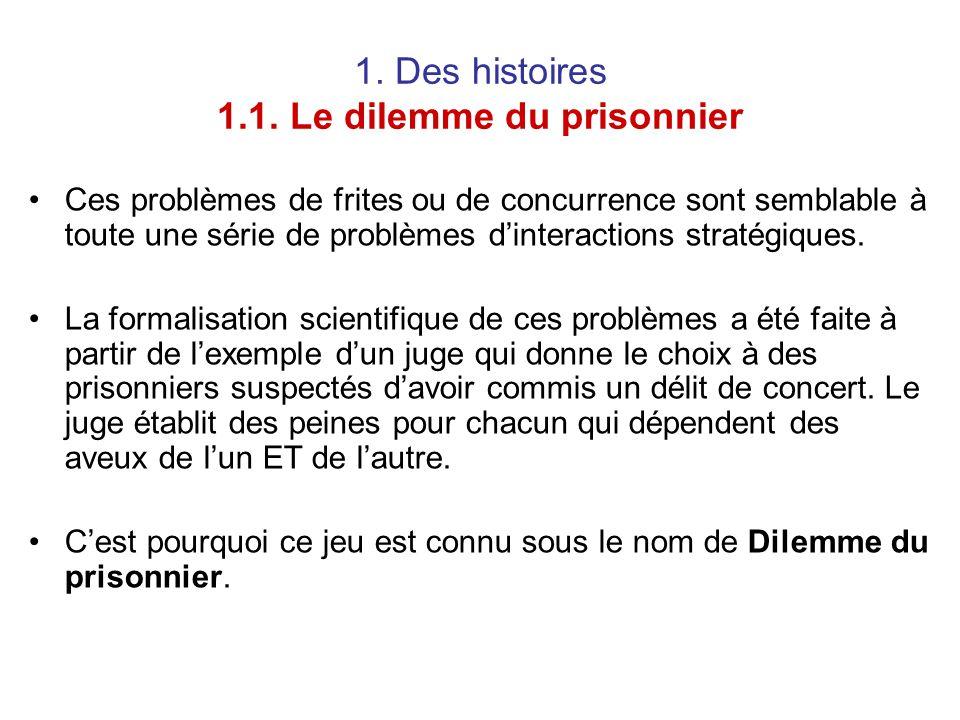 1. Des histoires 1.1. Le dilemme du prisonnier Ces problèmes de frites ou de concurrence sont semblable à toute une série de problèmes d'interactions