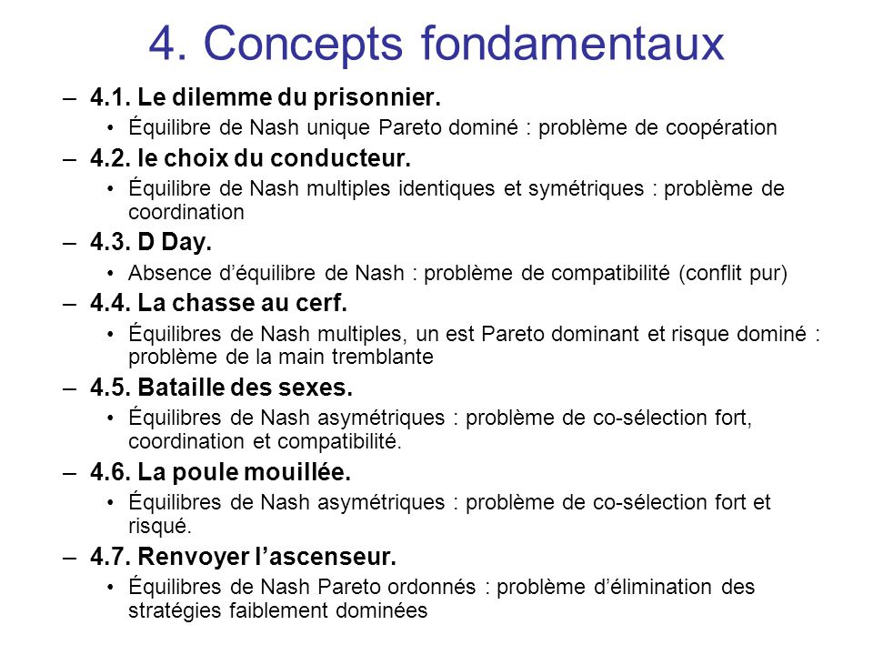 4. Concepts fondamentaux –4.1. Le dilemme du prisonnier. Équilibre de Nash unique Pareto dominé : problème de coopération –4.2. le choix du conducteur