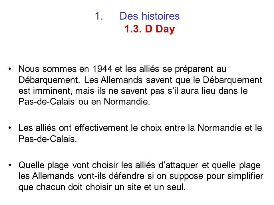 1.Des histoires 1.3. D Day Nous sommes en 1944 et les alliés se préparent au Débarquement. Les Allemands savent que le Débarquement est imminent, mais