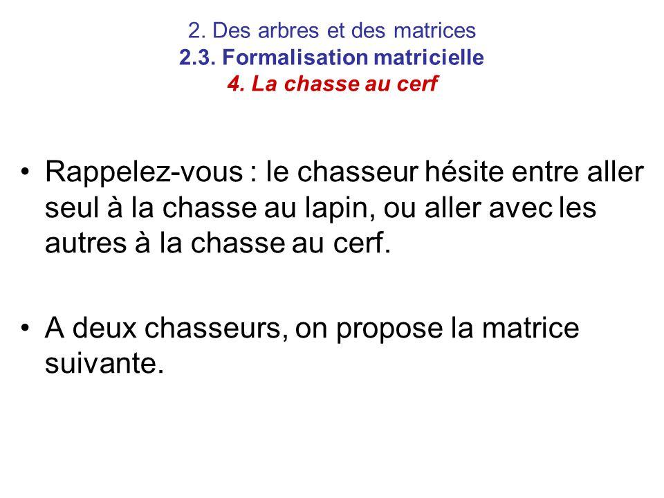 2. Des arbres et des matrices 2.3. Formalisation matricielle 4. La chasse au cerf Rappelez-vous : le chasseur hésite entre aller seul à la chasse au l