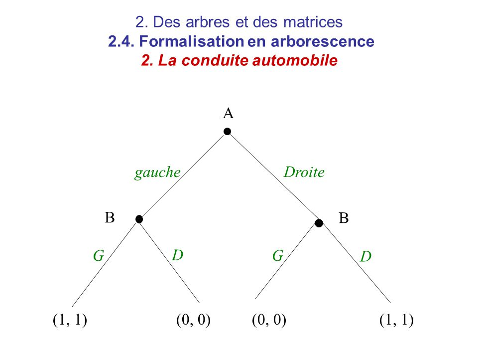 2. Des arbres et des matrices 2.4. Formalisation en arborescence 2. La conduite automobile A B B gauche GG Droite D D (1, 1)(0, 0) (1, 1)