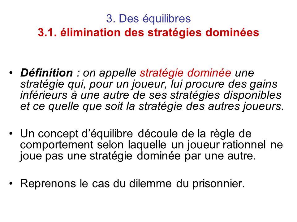 3. Des équilibres 3.1. élimination des stratégies dominées Définition : on appelle stratégie dominée une stratégie qui, pour un joueur, lui procure de