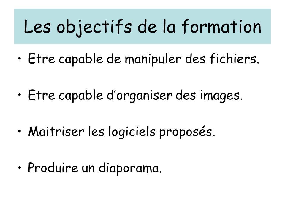 Les objectifs de la formation Etre capable de manipuler des fichiers.