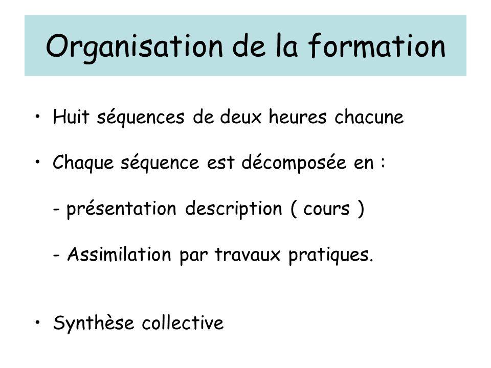 Organisation de la formation Huit séquences de deux heures chacune Chaque séquence est décomposée en : - présentation description ( cours ) - Assimilation par travaux pratiques.