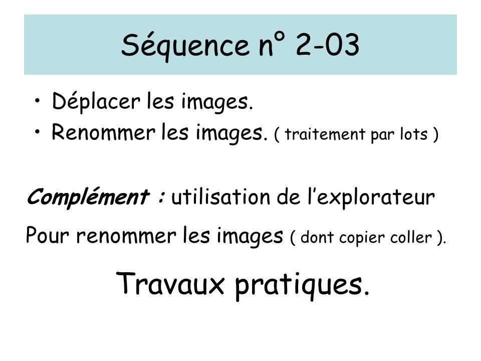 Séquence n° 2-03 Déplacer les images. Renommer les images.