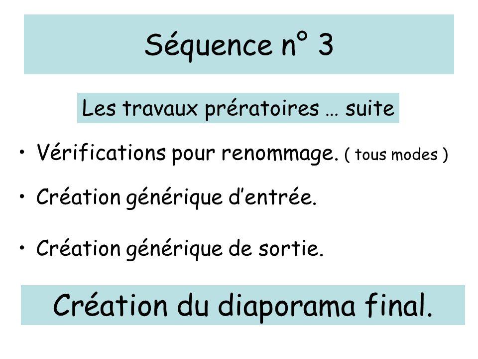 Séquence n° 3 Vérifications pour renommage. ( tous modes ) Création générique d'entrée.