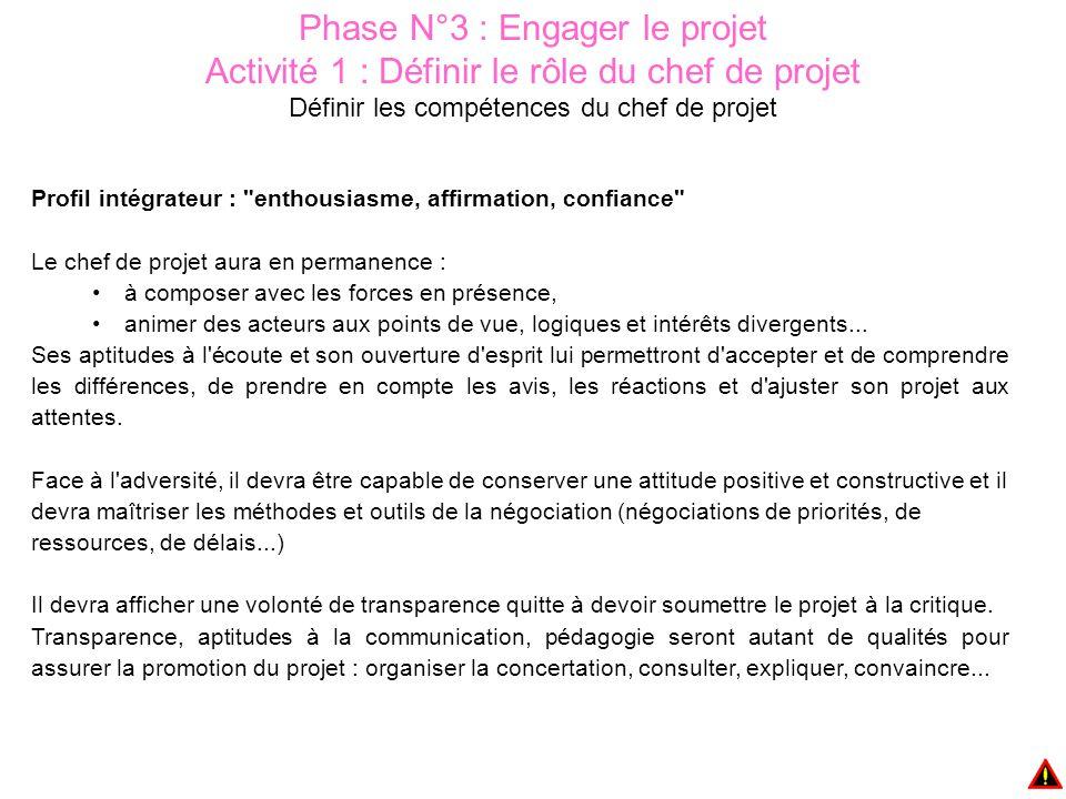 Phase N°3 : Engager le projet Activité 1 : Définir le rôle du chef de projet Définir les compétences du chef de projet Profil intégrateur :
