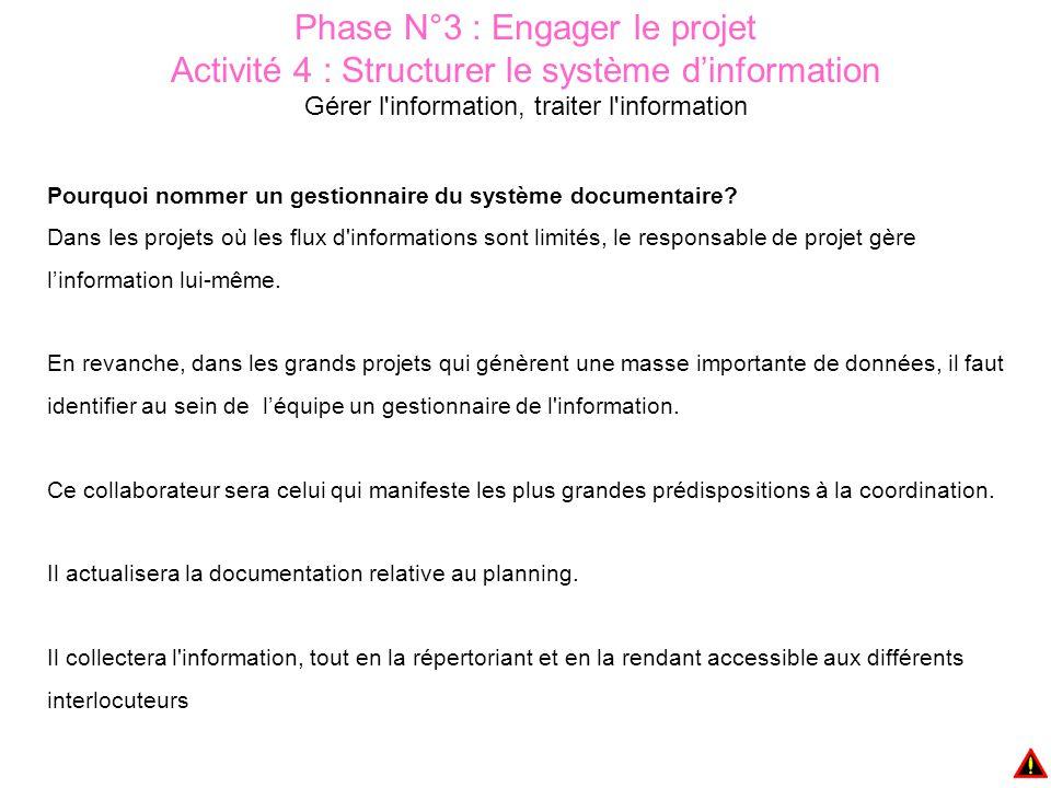 Phase N°3 : Engager le projet Activité 4 : Structurer le système d'information Gérer l information, traiter l information Pourquoi nommer un gestionnaire du système documentaire.