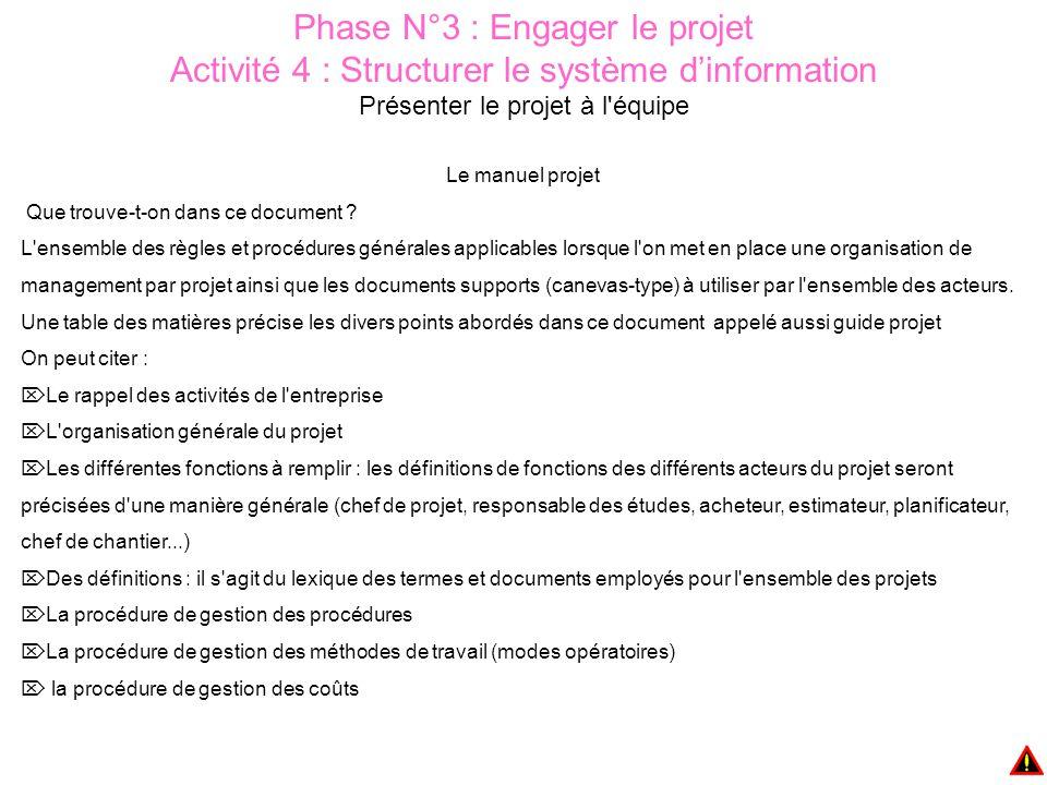 Phase N°3 : Engager le projet Activité 4 : Structurer le système d'information Présenter le projet à l équipe Le manuel projet Que trouve-t-on dans ce document .