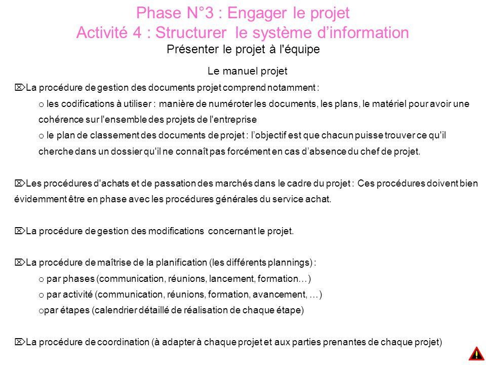 Phase N°3 : Engager le projet Activité 4 : Structurer le système d'information Présenter le projet à l'équipe Le manuel projet  La procédure de gesti