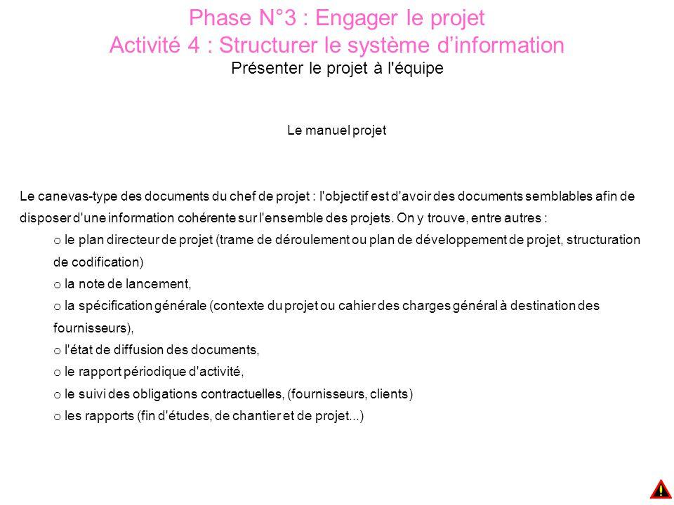 Phase N°3 : Engager le projet Activité 4 : Structurer le système d'information Présenter le projet à l équipe Le manuel projet Le canevas-type des documents du chef de projet : l objectif est d avoir des documents semblables afin de disposer d une information cohérente sur l ensemble des projets.