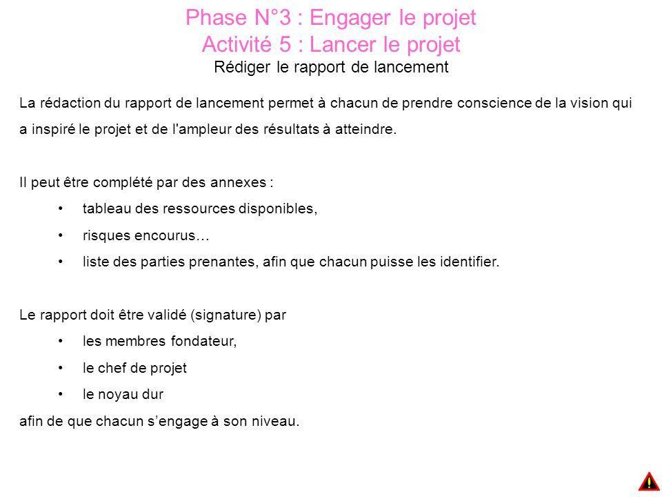 Phase N°3 : Engager le projet Activité 5 : Lancer le projet Rédiger le rapport de lancement La rédaction du rapport de lancement permet à chacun de pr