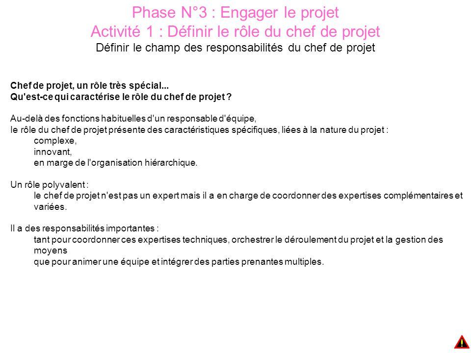 Phase N°3 : Engager le projet Activité 2 : Constituer une équipe projet Définir les rôles Complémentarité de compétences L équipe projet doit couvrir l ensemble des compétences fondamentales nécessaires à la réalisation du projet, compétences techniques mais également compétences managériales (communication, négociation), et d'organisation.