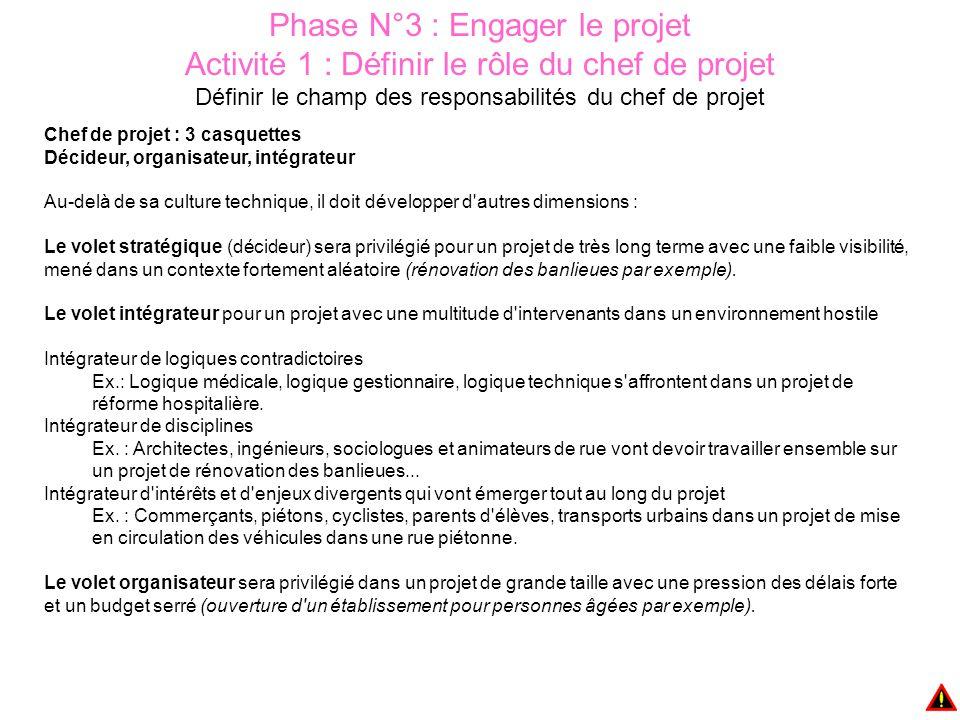 Phase N°3 : Engager le projet Activité 1 : Définir le rôle du chef de projet Définir le champ des responsabilités du chef de projet Chef de projet : 3