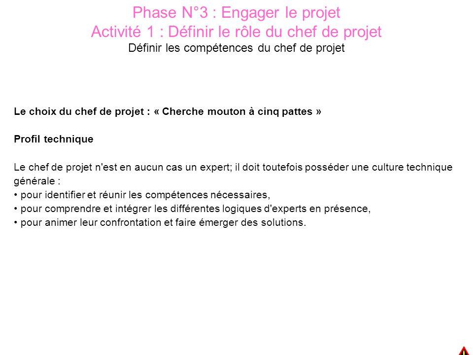 Phase N°3 : Engager le projet Activité 1 : Définir le rôle du chef de projet Définir les compétences du chef de projet Le choix du chef de projet : «